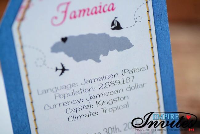 Blue pink luggage tag wedding invitations Jamaica (4)