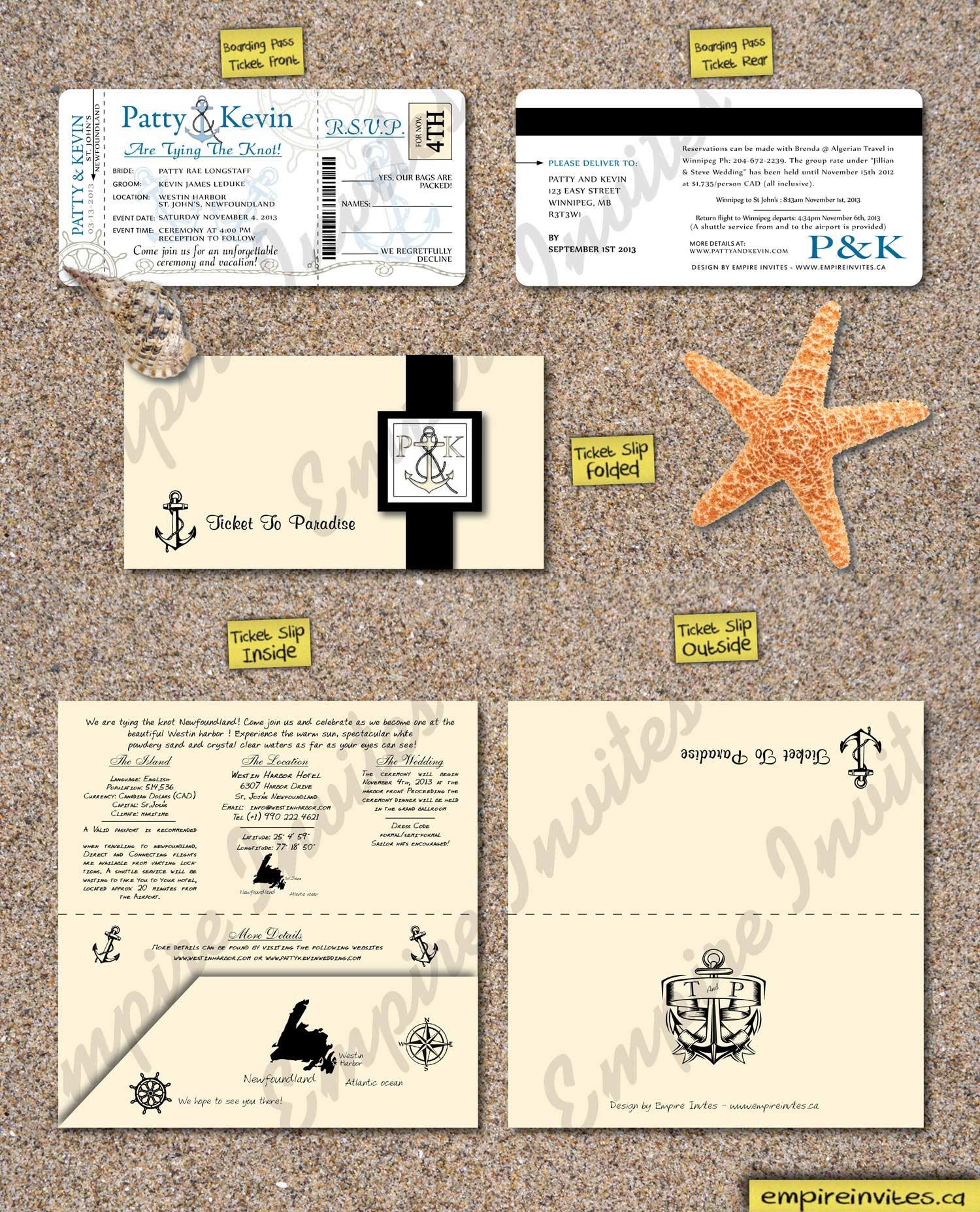 Custom Nautical boarding pass wedding invitations Canada | Empire ...