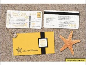 Boarding Pass Wedding Invitation #1 Tropical Destination (8x4inch)