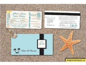 Boarding Pass Wedding Invitation # 2 Tropical Destination