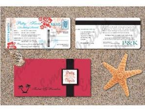 Boarding Pass Wedding Invitation # 3 Tropical Destination (8x4inch)