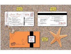 Las Vegas Boarding Pass Wedding Invitation