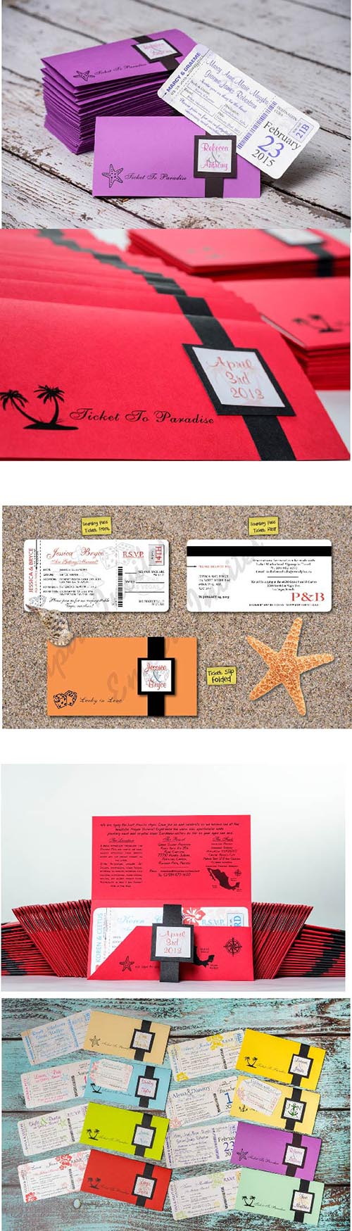 Custom Vegas themed boarding pass wedding invitations Canada ...