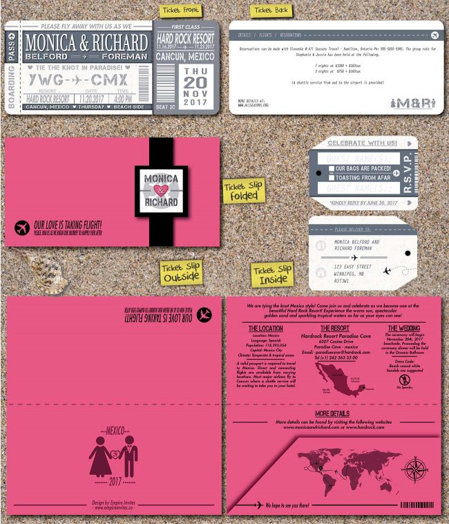 Pink boarding pass invites