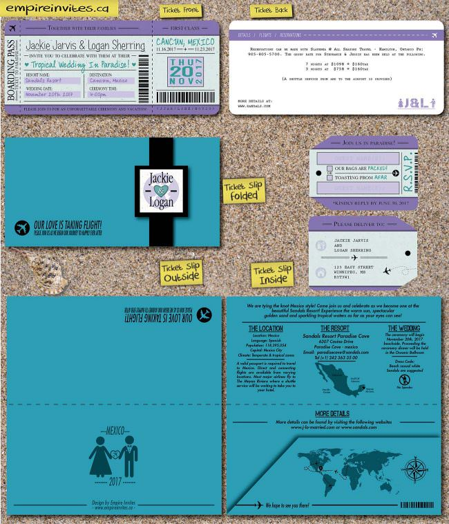 teal boarding pass invites