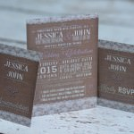 willow vintage lace brown wedding invitation