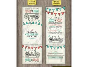 Flint – 5×5 Tri-Fold Tandem Bike Wedding Invitation