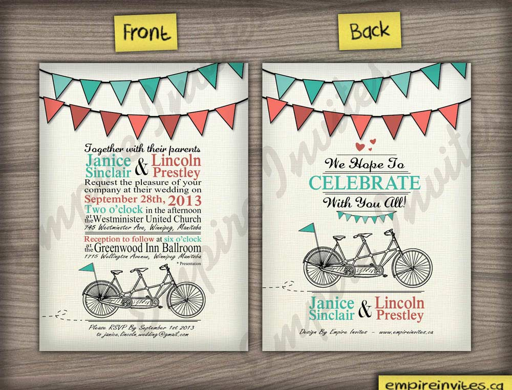 Custom Tandem Bike Wedding Invitations Canada | Empire Invites