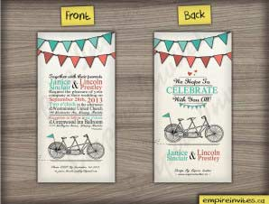 Flint  –  Vertical Tandem Bike Wedding Invitation 2