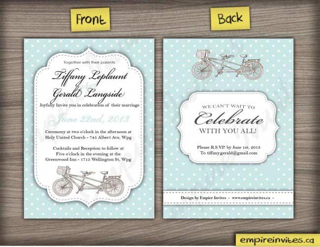 Tandem Bike Wedding Invitations: Custom Tandem Bike Wedding Invitations Canada