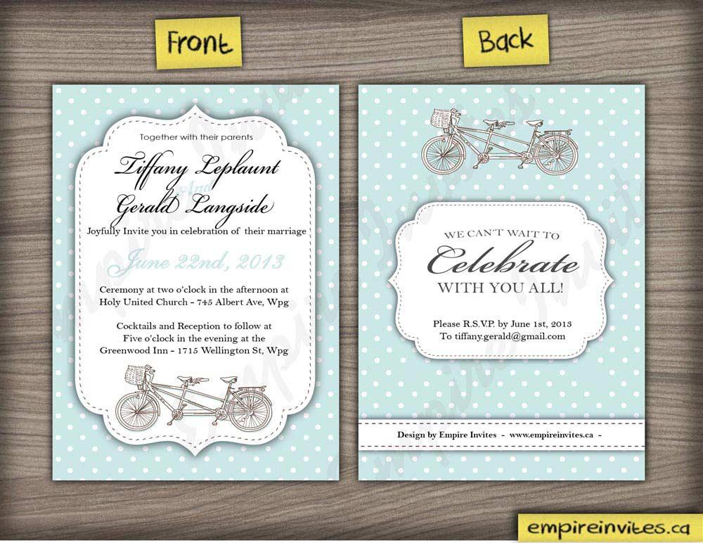 Canadian Wedding Invitations: Custom Tandem Bike Wedding Invitations Canada