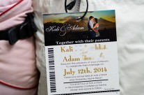 Gold Ski Pass / Lift Ticket Wedding Invitations to Kimberley Resort, BC