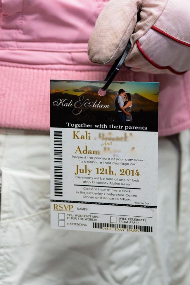 Gold Ski Pass Wedding Invitation Kimberley Resort (2)