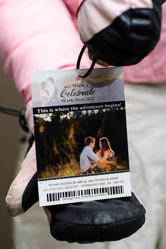 rear ski pass wedding invite on jacket