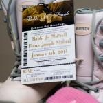 ski pass wedding invitation gold