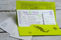 Green & Purple Boarding pass wedding invites to Riu Vallarta, Mexico