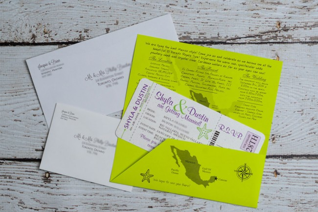 green and purple boarding pass invite package