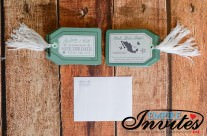 Green Luggage tag save the dates to Hacienda Beach Club