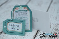 Green Luggage tag wedding invitations to byron bay Austrailia