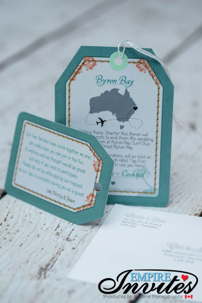back of invite and wishing well card
