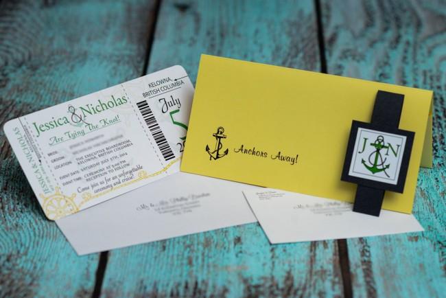 Green Nautical Boarding Pass Wedding Invitation (2)