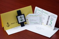 Green nautical boarding pass wedding invitations to Kelowna