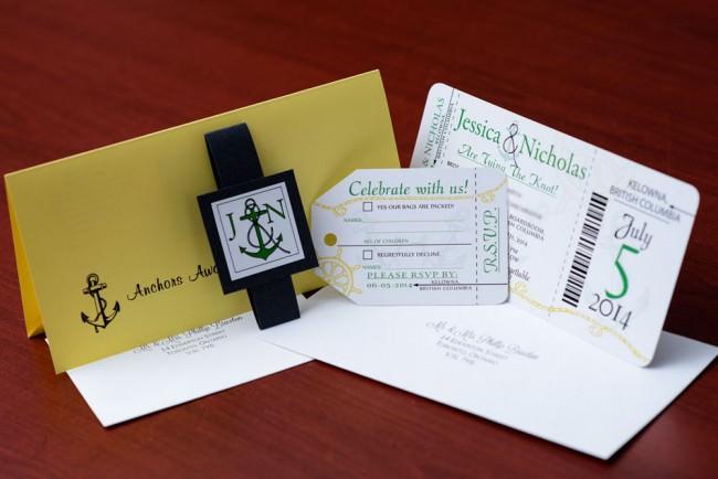 Green Nautical Boarding Pass Wedding Invitation (3)