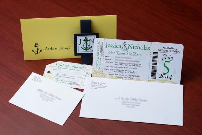 Green Nautical Boarding Pass Wedding Invitation (6)