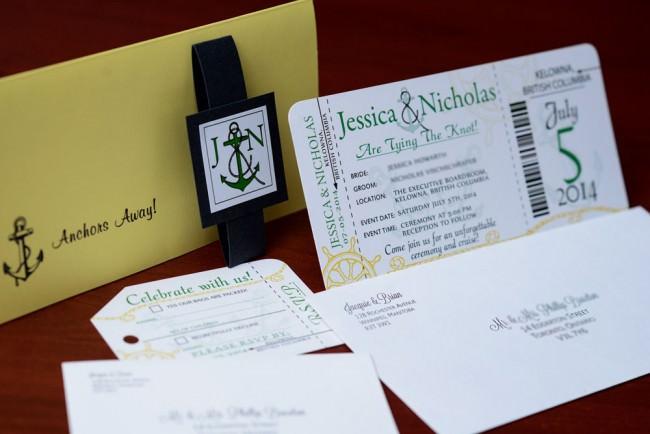 Green Nautical Boarding Pass Wedding Invitation (7)
