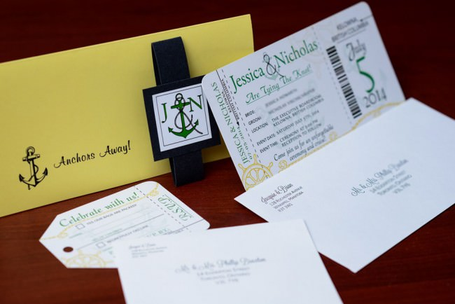 envelopes and badge