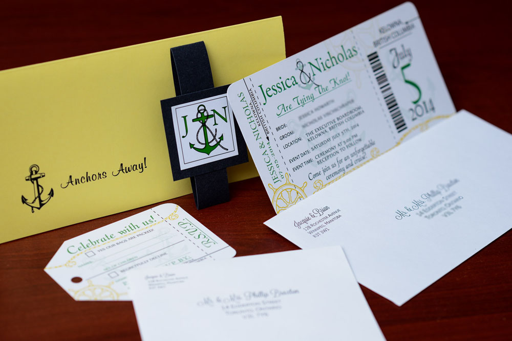 Green nautical boarding pass wedding invitations to kelowna if your interested in ordering a design like these then visit our boarding pass wedding invitations page for more information and to start your custom solutioingenieria Images