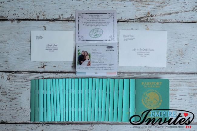 Green Passport wedding invitations Hotel Riu Santa Fe Mexico (2)