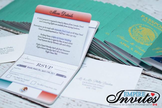 Green Passport wedding invitations Hotel Riu Santa Fe Mexico (3)