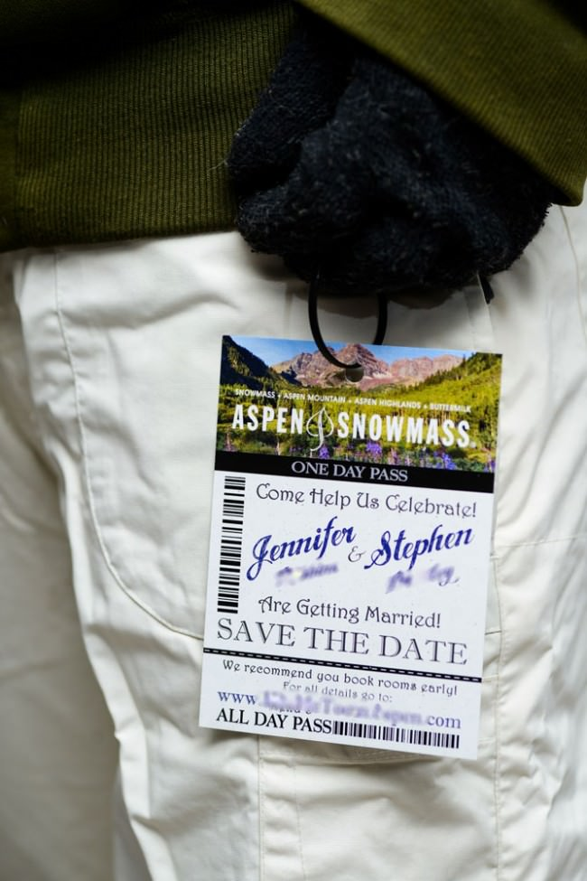 ski pass hanging on jacket