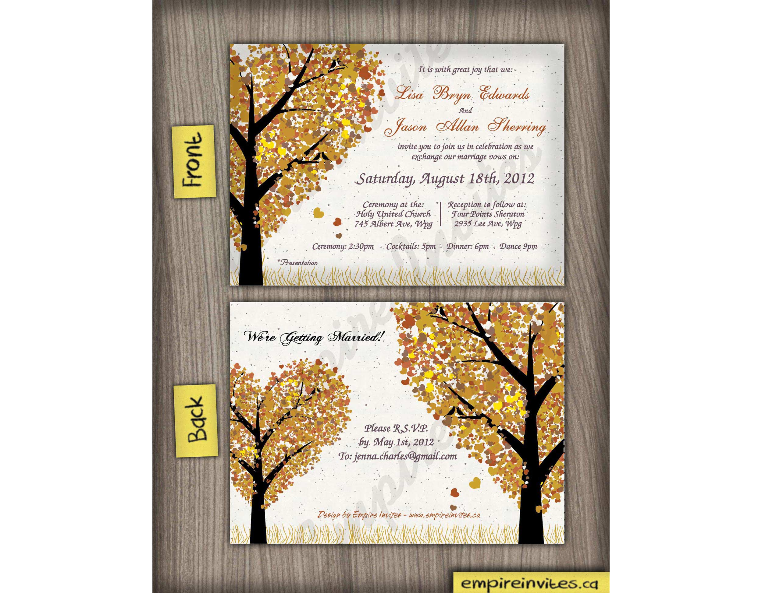 Custom Fall Wedding Invitations From Winnipeg Canada