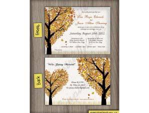 Harrison  –  Horizontal Fall Wedding Invitation 1