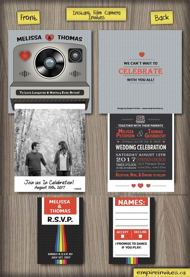 Custom interactive instant film camera wedding invitations Canada ...