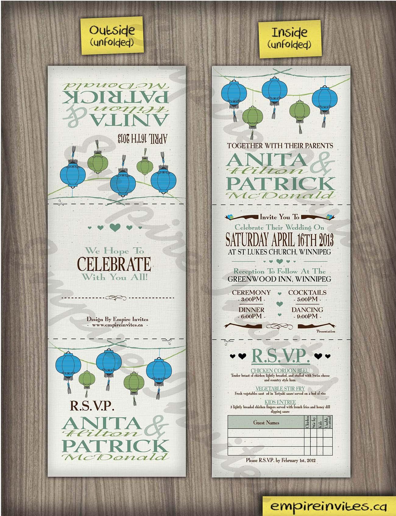 Custom Chinese lantern wedding invitations Canada | Empire Invites