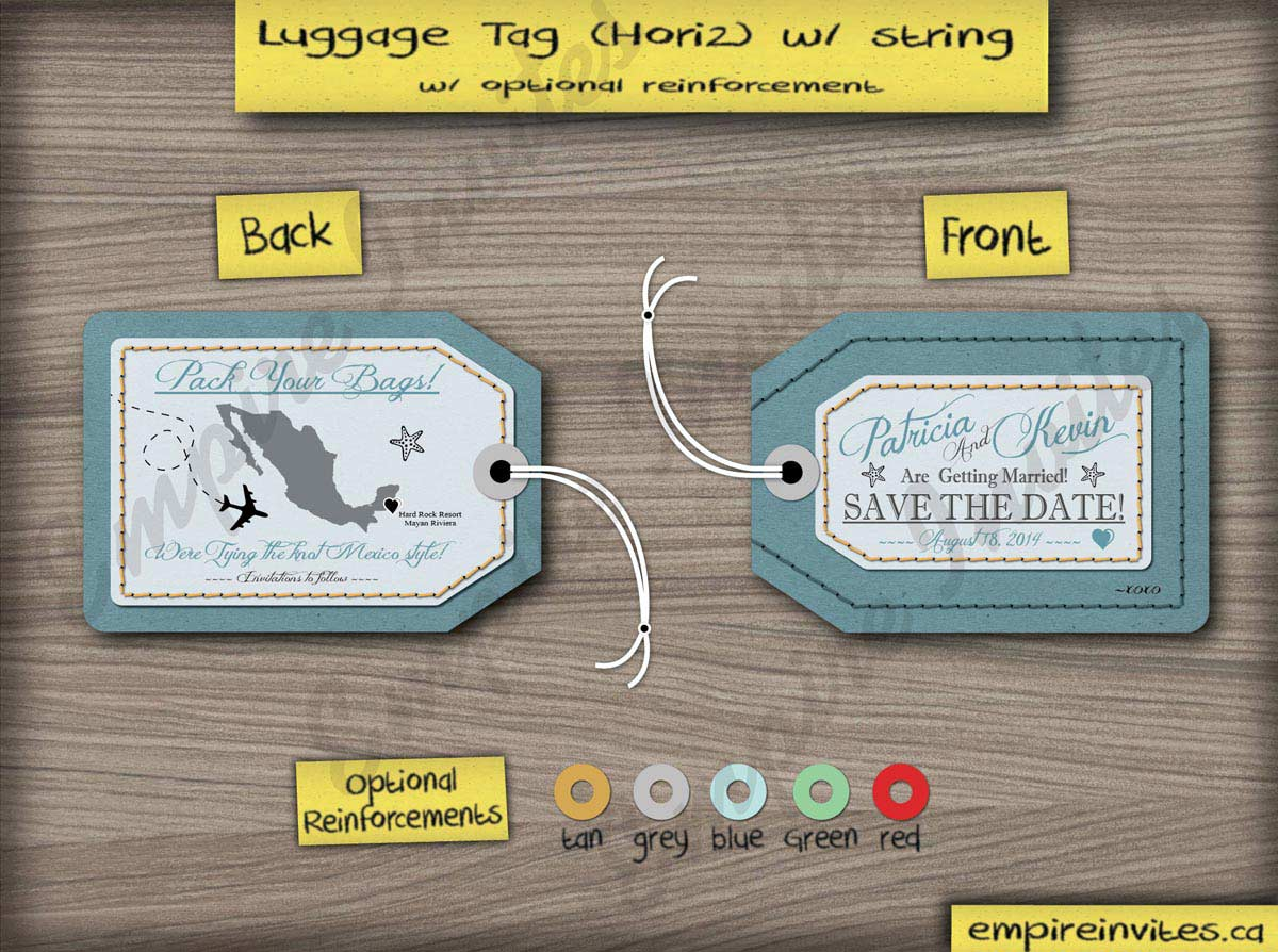 custom luggage tag save the date cards canada