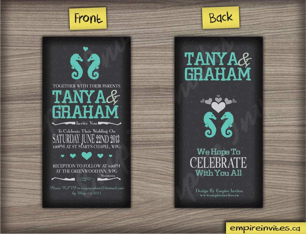 Custom seahorse wedding invitations From Winnipeg, Canada - EMPIRE ...