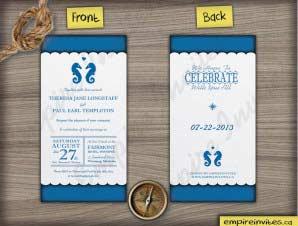 Nautical – Vertical Seahorse wedding invitation 5