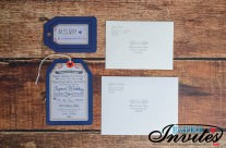 Navy luggage tag wedding invitations to Riu Palace, Mexico