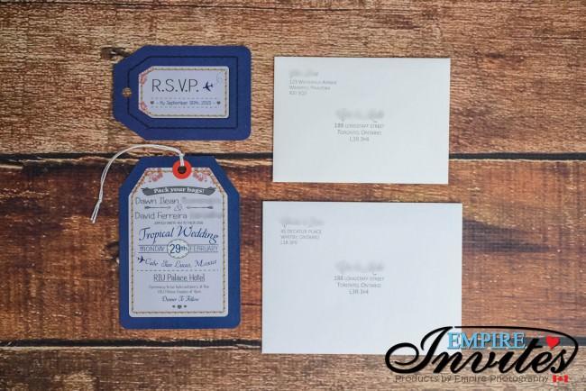 Navy luggage tag wedding invitations Riu Palace Mexico (1)