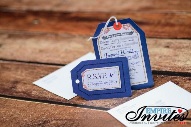 Navy luggage tag wedding invitations Riu Palace Mexico (3)