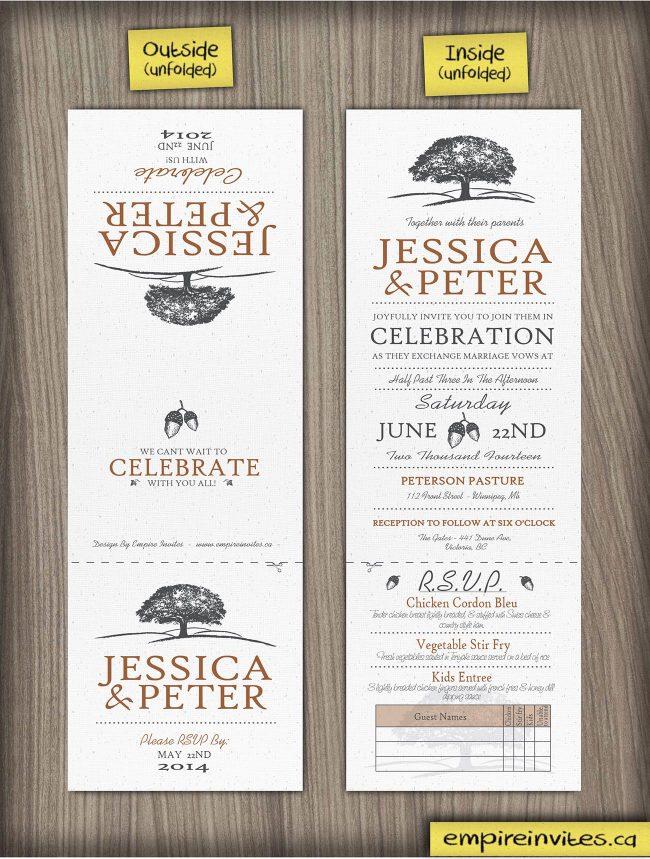 Oakwood oaktree trifold wedding invitations