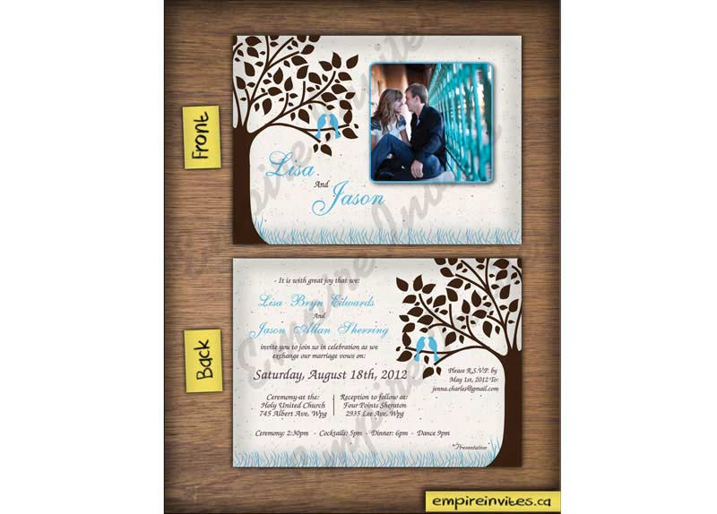 Custom Love Bird Wedding Invitations From Winnipeg Canada