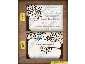 Oliver  –  Horizontal Love Bird Wedding Invitation