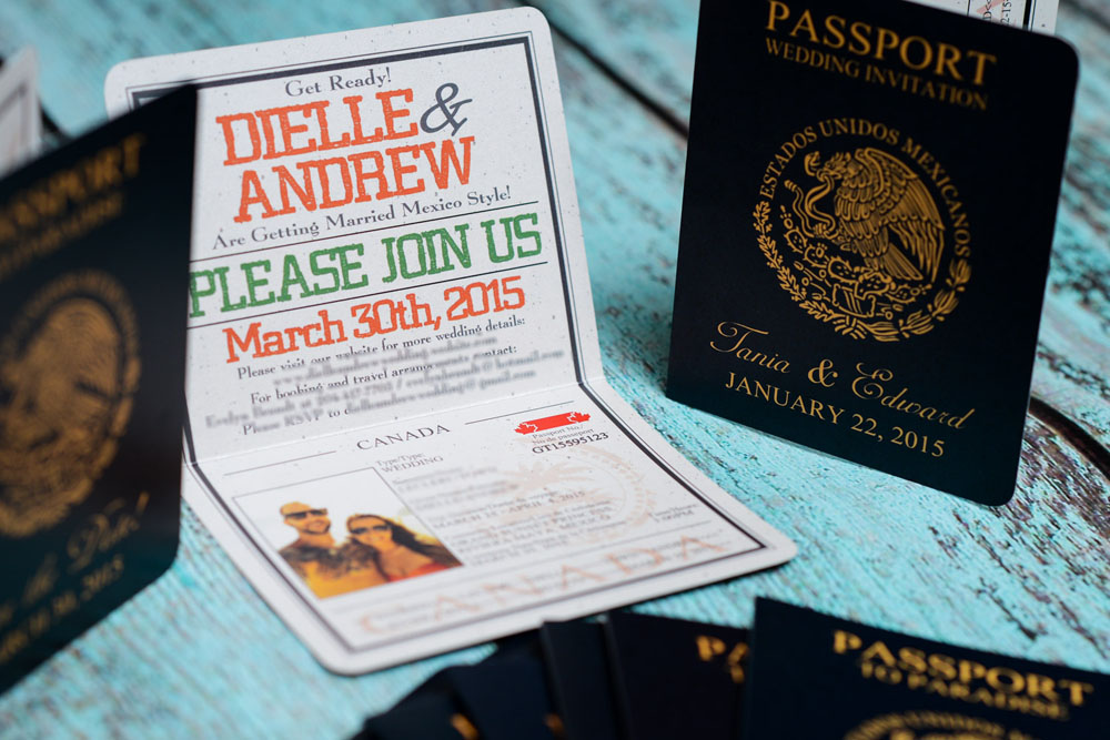 Orange Passport Save The Date Cards to Grand Sunset, Mexico ...