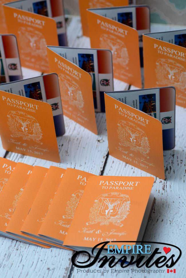 Orange Passport wedding invitations to Majestic Calonial Punta Cana (4)