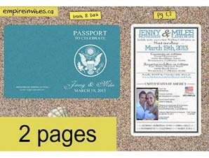 Destination Passport Wedding Invitations (4x5inch -2 Page)